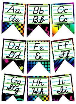 Neon themed print and cursive Alphabet banner