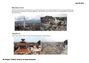 Nepal Earthquake - Critical Reading/Guided Highlighted NGSS MS-ESS3 (Editable)