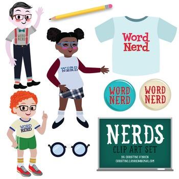 Nerd Kids Clip Art Set