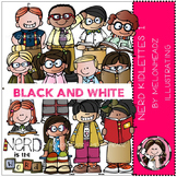 Nerd clip art - kidlettes - BLACK AND WHITE- by Melonheadz