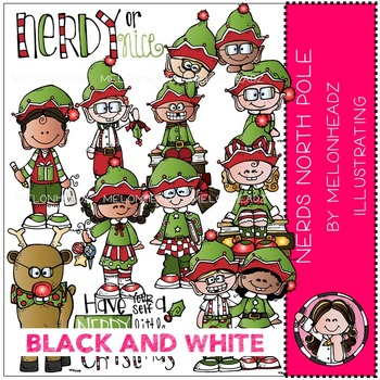 Nerds clip art - North Pole - BLACK AND WHITE- by Melonheadz