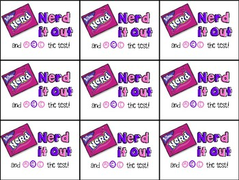Nerds Candy Testing Motivation Treat Tag (Nerd it out and ace the test)
