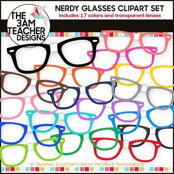 e5cdd78a4a5 Nerdy Glasses Clip Art Set by The 3am Teacher