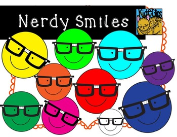 Nerdy Smiley Face Clip Art by Kid-E-Clips Commercial and Personal Use