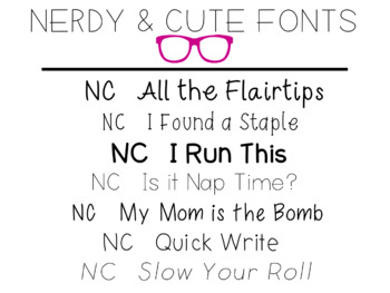 Nerdy and Cute FONTS Volume ONE