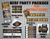 Nerf Party Package - Banner - Treat Bag - Cupcake Topper