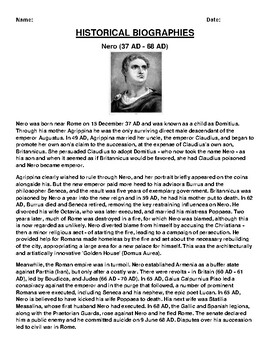Nero Biography Article and (3) Assignments