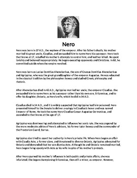 Nero Biography Article and Assignment
