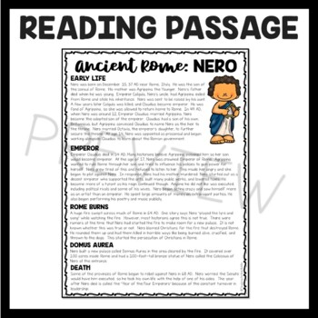 Nero Biography Reading Comprehension Worksheet; Ancient Rome
