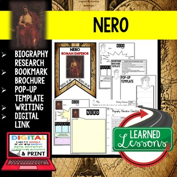 Nero Biography Research, Bookmark Brochure, Pop-Up Writing Google
