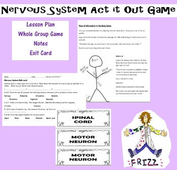 Nervous System Act it out Game with Notes and Exit Card