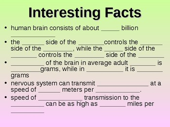 Nervous System Student Fill-in Notes