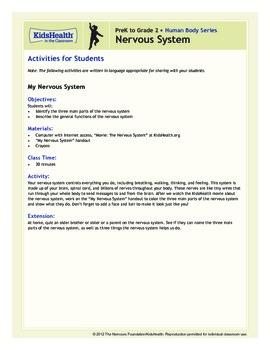 Nervous System Teacher's Guide (Pre-K to Grade 2)