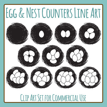 Nest Egg Counters Black and White Line Art Clip Art for Commercial Use