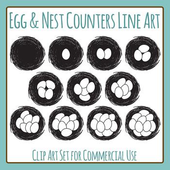 Nest Egg Counters Black and White Line Art Clip Art for Co