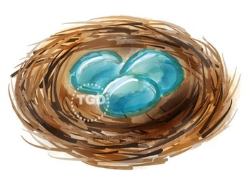 Nest with eggs clip art, Printable Tracey Gurley Designs