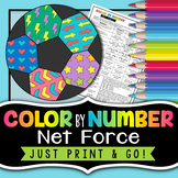 Net Force - Balanced and Unbalanced Forces - Science Color By Number Review