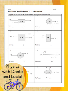 net force and f ma practice worksheet by physics with dante and lucio. Black Bedroom Furniture Sets. Home Design Ideas
