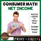 Net Income - Consumer Math Unit (Notes, Practice, Test, an