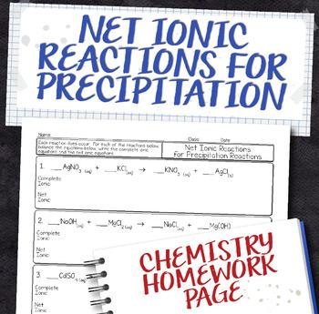 Net Ionic Precipitation Chemical Equations Homework Worksheet