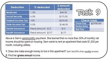 Paycheck Task Cards