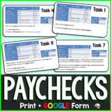 Paycheck Tasks w/ GOOGLE Form for distance learning