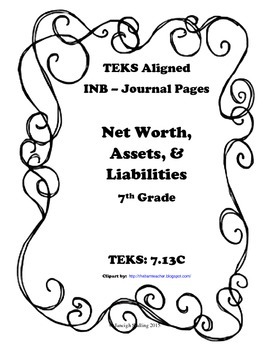 Net Worth, Assets, and Liabilities INB TEKS 7.13C