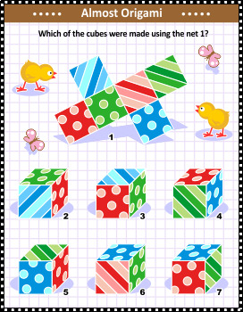 Net and Folded Cubes Visual Math Puzzle, Commercial Use Allowed