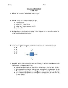 Net force, free body diagrams, and friction quiz
