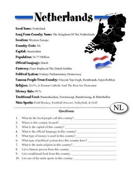Netherlands Information & Worksheet