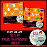 Nets Bundle Prisms and Pyramids clip art