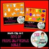Nets Bundle Prisms and Pyramids clip art