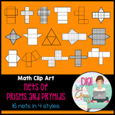 Nets Prisms and Pyramids clip art