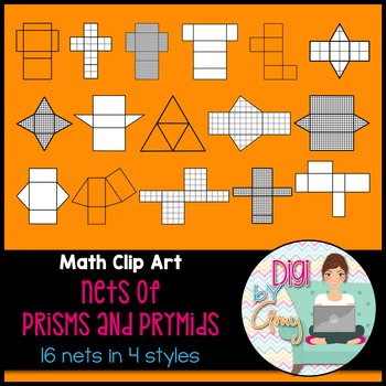 Nets - Prisms and Pyramids clipart