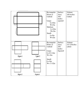 Nets, Solids, Surface Area and Volume Activity Guide