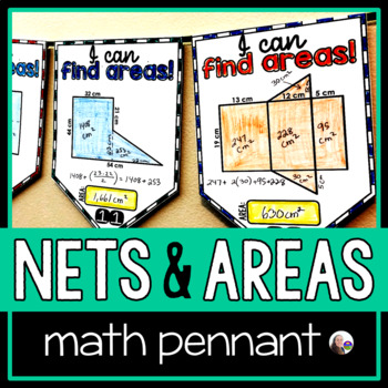 3-D Nets, Surface Area and Composite Figures Math Pennant