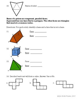 Nets of Solids Worksheet (MIF Chapter 12 Intro Lesson 12.1)