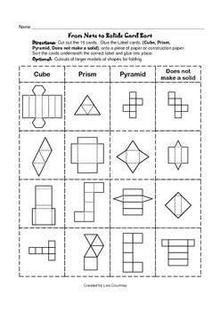 nets to solids card sort geometry geometric shapes by mrs c 39 s classroom. Black Bedroom Furniture Sets. Home Design Ideas