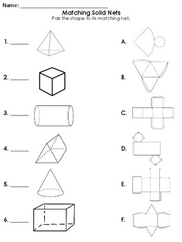 Netted Shapes and worksheet