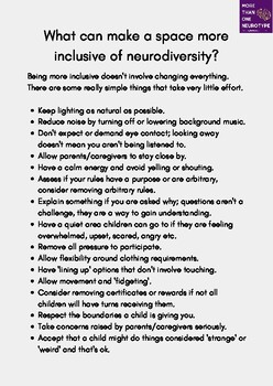 Neurodiversity - Exclusionary Environment Feedback Letter and Information.