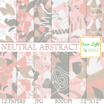 Neutral Abstract Digital Papers / Geometric Modern Patterns Backgrounds