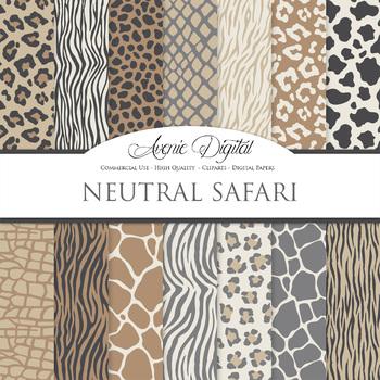 Neutral Animal Prints Digital Paper safari scrapbook backgrounds zebra leopard