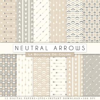 Neutral Arrows Digital Paper, scrapbook backgrounds