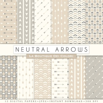 Neutral Arrows Digital Paper, scrapbook backgrounds