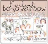 Neutral BOHO Rainbow on trend Class Decor Pack