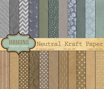 Neutral, Brown, Gray Kraft Paper, Digital Texture Pack Backgrounds
