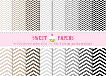 Neutral Chevron Digital Paper Pack - by Sweet Papers