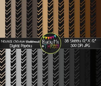 Neutral Chevron on Chalkboard Digital Papers {Commercial Use Digital Graphics}