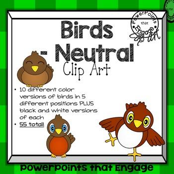 Neutral Colored Birds Clip Art