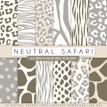 Neutral Colors Animal Prints Digital Paper, scrapbook backgrounds.